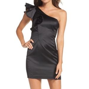 NEW Bardot Satin One Shoulder Ruffle Dress